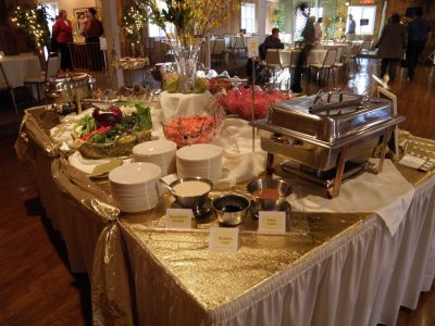 Catered food at wedding reception