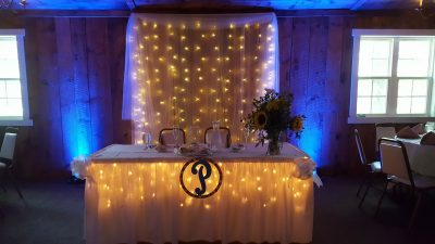 Bride and groom table at wedding reception