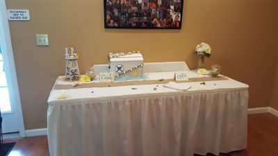 Card table at wedding reception