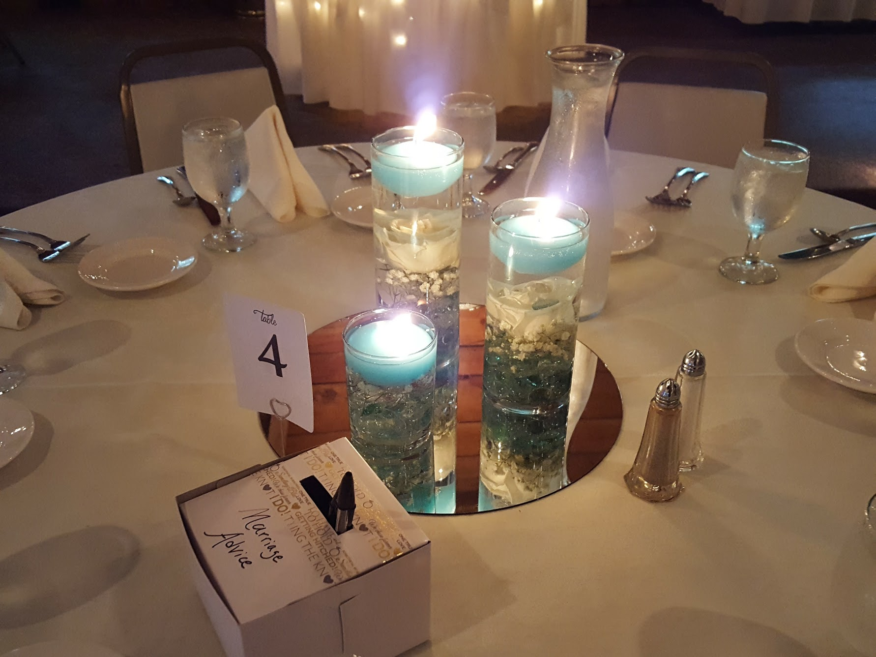 Center pieces at wedding reception
