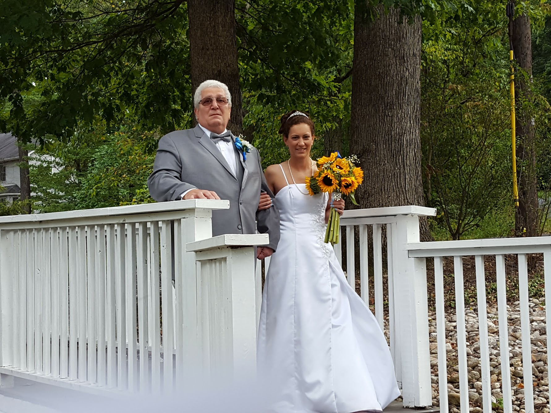 Father and daughter during wedding ceremony