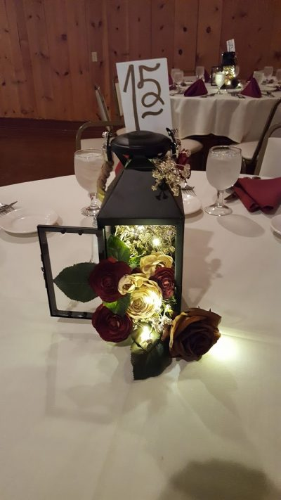 Table flowers at wedding reception