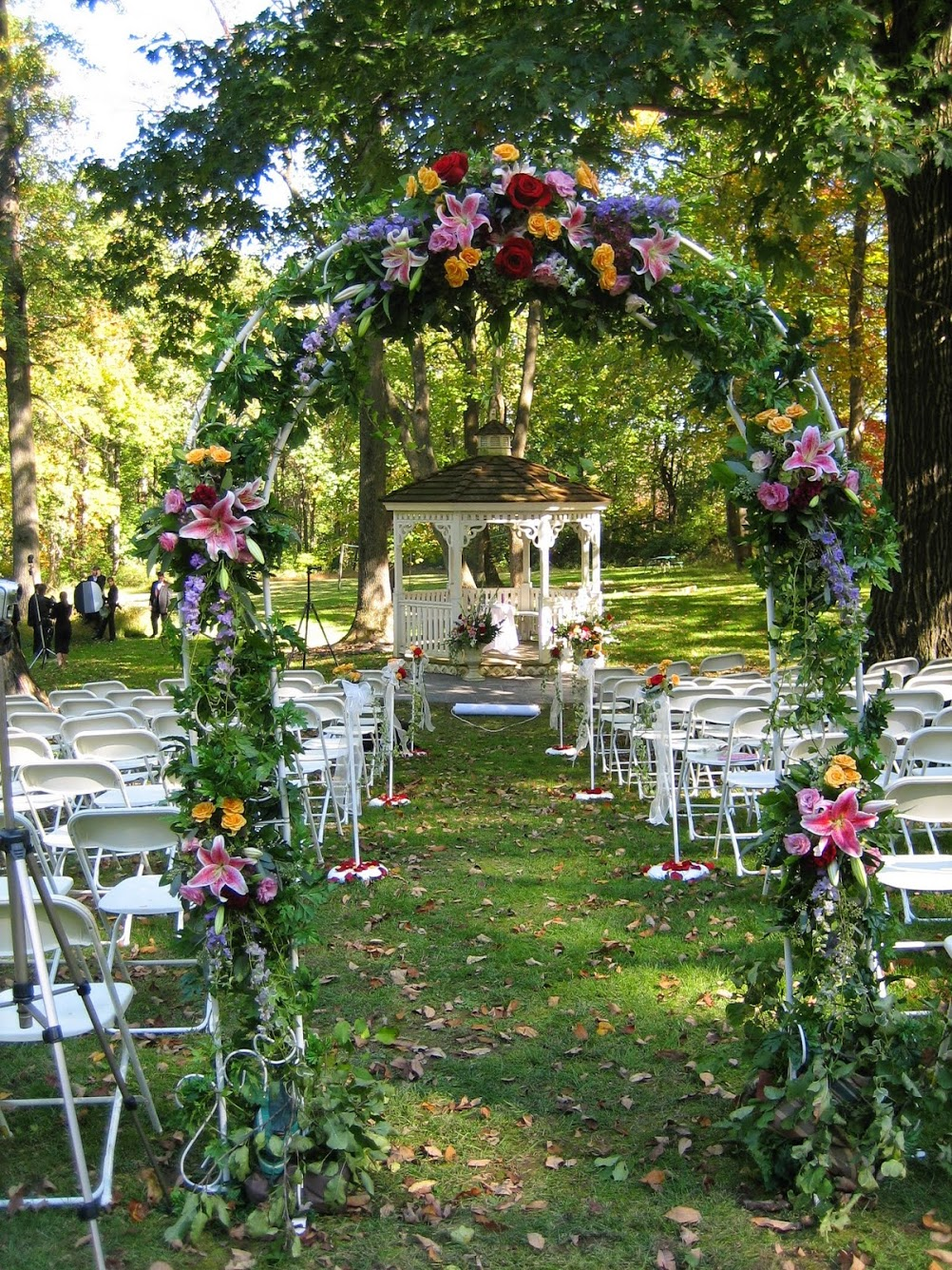 Decorated flower arch