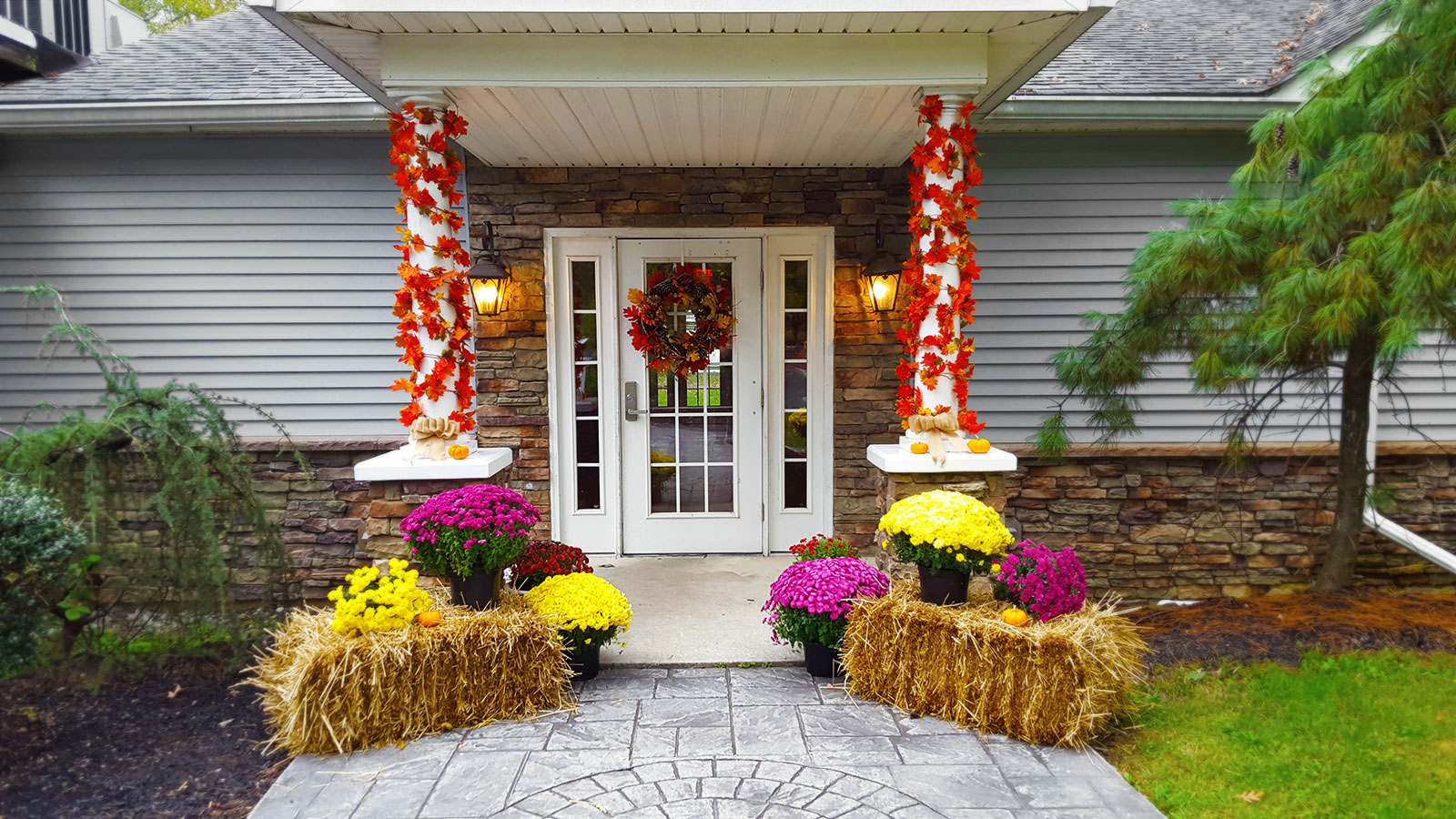 Autumn decoration at the front door of a house