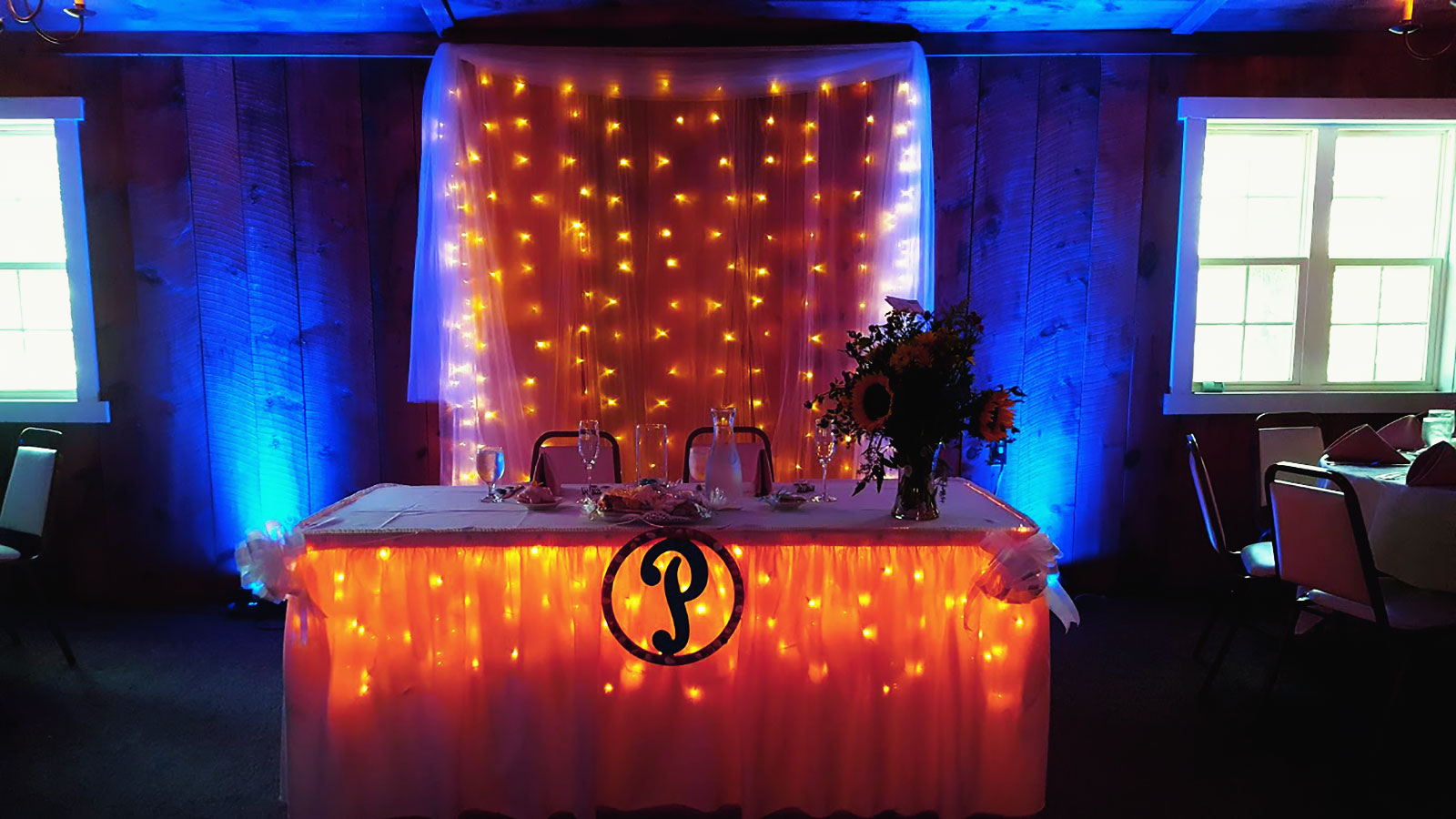 Wedding couple's table at reception